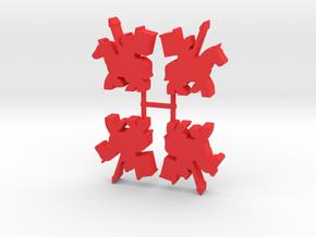 Samurai Meeple, Mounted Spear Banner, 4-set in Red Processed Versatile Plastic