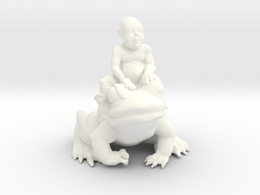 Putti On Frog 3 Inches Tall in White Processed Versatile Plastic