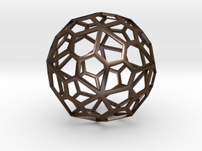 60 sided polyhedron, pentagonal faces in Polished Bronze Steel