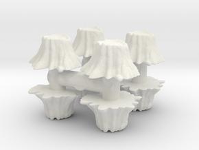 8 Tree Stumps (Set 1) 1/100 in White Natural Versatile Plastic
