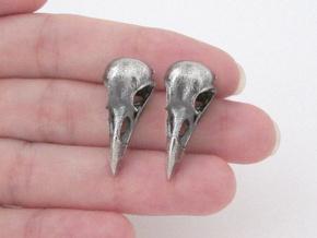 Raven Skull Stud Earrings - Pair in Antique Silver