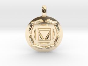 BASE ROOT Chakra Muladhara Symbol Pendant in 14K Yellow Gold