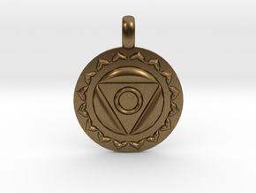 VISHUDDHA Throat Chakra Symbol Pendant  in Natural Bronze