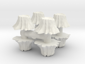 8 Tree Stumps (Set 1) 1/24 in White Natural Versatile Plastic