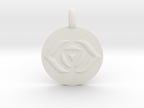 AJNA THIRD EYE Chakra Symbol jewelry Pendant in White Natural Versatile Plastic