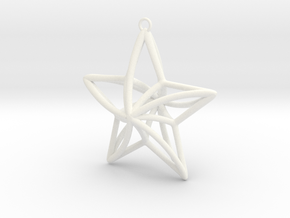 Twisted Star Necklace in White Processed Versatile Plastic
