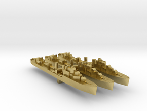 3 pack Havant class destroyer 1:3000 WW2 in Natural Brass