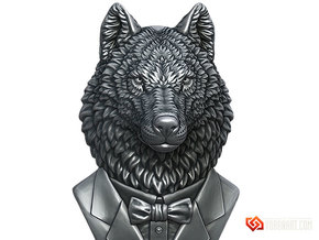 Wolf Gentleman Pendant in Natural Brass: Small