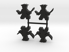 Pirate Meeple, sword dagger, 4-set in Black Natural Versatile Plastic