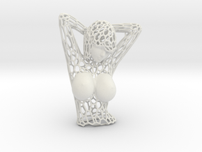 Female Bust Voronoi in White Natural Versatile Plastic