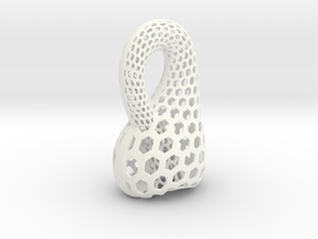 Two-Inch Klein Bottle in White Processed Versatile Plastic