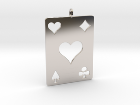 As de coeur - Ace of hearts in Rhodium Plated Brass