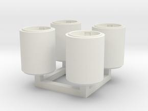 Betonpapierkorb rund, DDR, 1:45 in White Natural Versatile Plastic