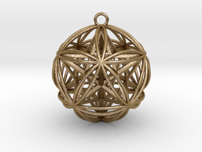 Icosasphere w/Nest Stellated Dodecahedron Pendant in Polished Gold Steel