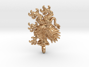 Double sided Griffin pendant in Polished Bronze