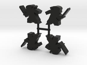 Ninja Meeple, stealthy katana, 4-set in Black Natural Versatile Plastic