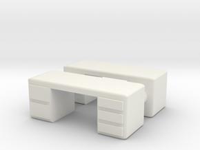 Office Desk (x2) 1/87 in White Natural Versatile Plastic