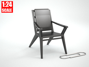 1:24 Minimalist Chair Version 'C' for Dollhouses in Black Natural Versatile Plastic