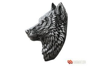 Proud Wolf animal head pendant jewelry in Natural Brass