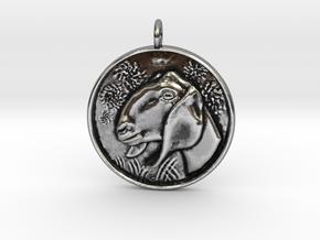 Nubian Doe Pendant in Antique Silver
