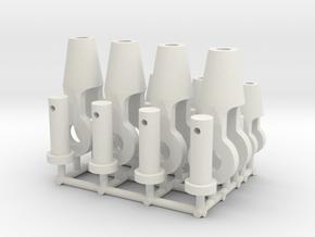 Open spelter sockets type S02 - 1:50 - 8X in White Natural Versatile Plastic