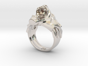 Roaring Black Panther wild cat ring in Rhodium Plated Brass: 10 / 61.5