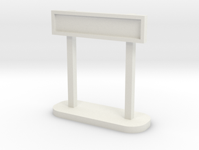 OO Station Sign - Maron Single in White Natural Versatile Plastic