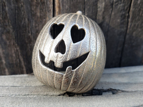 Halloween 2018 HEART Pumpkin Pendant ⛧VIL⛧ in Polished Bronzed-Silver Steel