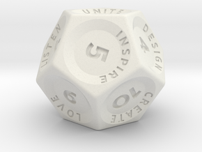Ki-Tun Words & Numbers Dice in White Natural Versatile Plastic