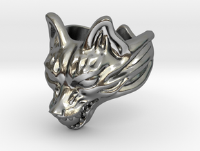 "Fox (Oinari san) ""orb"" Ring in Polished Silver: 10 / 61.5"