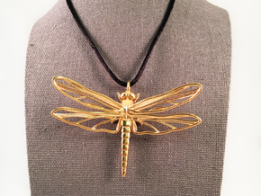 Dragonfly Pendant Large in Natural Brass