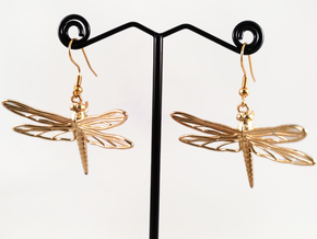 Dragonfly Earrings Large in Natural Brass