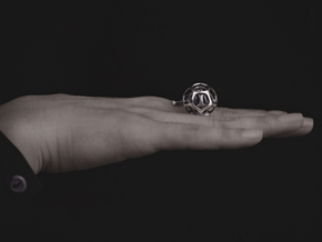 Ball/Twig Ring Meditation Anti Anxiety Statement in Polished Silver (Interlocking Parts): 10 / 61.5