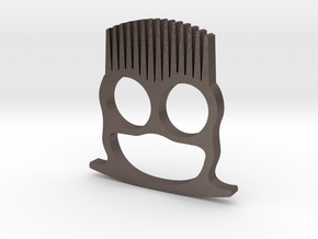 Knuckle Duster Beard Comb in Polished Bronzed Silver Steel