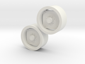 1:64 scale 12.4-24 Wheels in White Natural Versatile Plastic