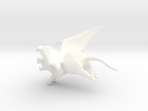 Winged Rat in White Processed Versatile Plastic