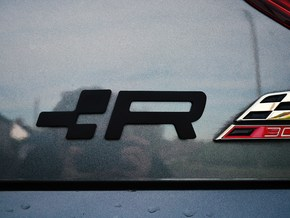 Cupra R Badge - 35mm (large) in White Natural Versatile Plastic