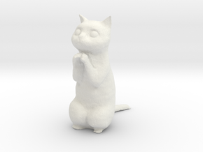1/24 Praying/Begging Cat Standing in White Natural Versatile Plastic