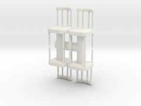 Antique Chair (x4) 1/24 in White Natural Versatile Plastic