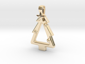 Festive Christmas Tree  in 14k Gold Plated Brass