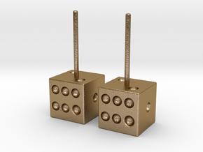 Dice Earrings Hollow in Polished Gold Steel