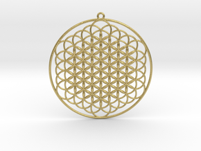 """Extended Flower Of Life Pendant 2.5"""" in Natural Brass"""