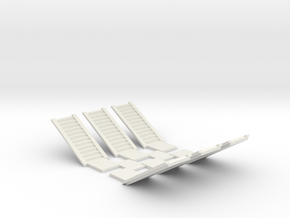 Concrete Stair Run 12 risers (N scale) in White Natural Versatile Plastic