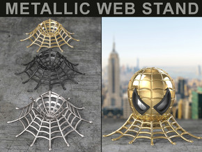 WEB STAND (METALLIC) for the Spider Geek Ring Box in Matte Black Steel