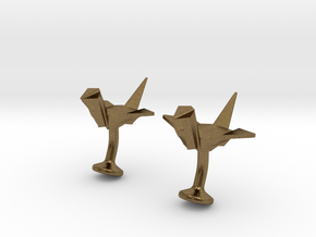 Origami Crane Cufflinks in Natural Bronze