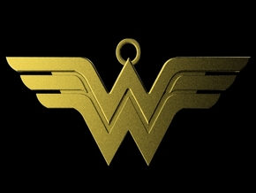 Classic Wonder Woman Keychain in Polished Gold Steel