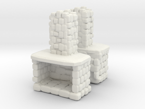 Stone Fireplace (x2) 1/100 in White Natural Versatile Plastic