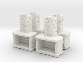 Stone Fireplace (x4) 1/144 in White Natural Versatile Plastic