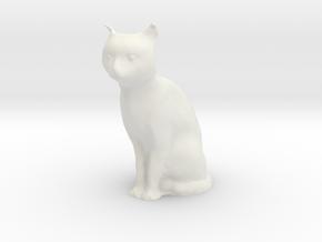 1/7 Sitting Cat in White Natural Versatile Plastic