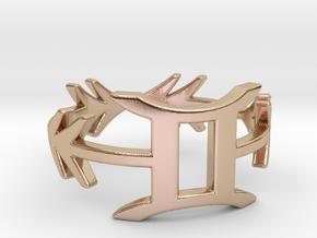 Bohemian arrow geometric gemini zodiac ring in 14k Rose Gold Plated Brass: 7 / 54